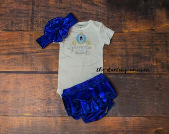 Baby girl clothing, newborn girl outfit, newborn coming home outfit, cinderella the princess has arrived, newborn bodysuit, newborn outfit