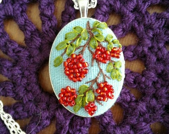 Cherry -- hand embroidered necklace