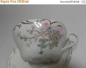 ON SALE Bavarian China - Delicate Floral Teacup & Saucer
