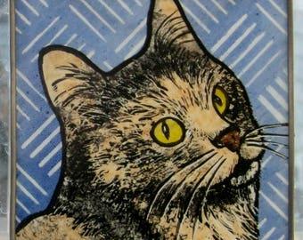 Stained Glass Cat Suncatcher   JRNcat028