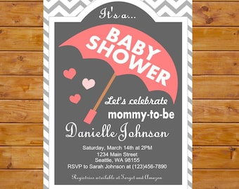 Umbrella Baby Shower Invitation - Gender Neutral Baby Invitation - Printable Baby Shower Invitation - Grey Chevron, Custom, Digital File