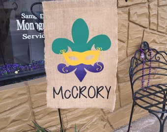 Mardi Gras Personalized Burlap Garden/Yard Flag. Will ship within 24 Hours of cleared payment.*****Please Read Shop Announcement*****