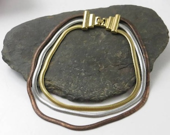 Monet Necklace, Silver, Gold, Bronze
