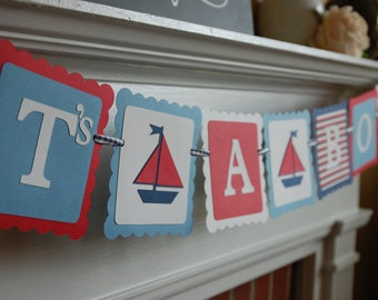 It's A Boy Banner, Sailboat It's A Boy, Nautical, Nautical Baby Shower, Red, Blue, Navy