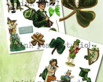 Vintage St. Patrick's Day Ephemera 2 Sheets, Digital Collage Clipart Sheet for ATC, Scrapbooking, Altered Art