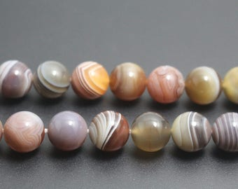 Botswana Agate Beads,Striped Agate Smooth Round Beads, 4mm 6mm 8mm 10mm 12mm Beads,15 inch Full Strand