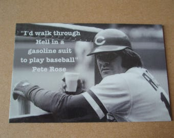 Pete Rose Photo Magnet I'd walk through Hell quote baseball Charlie Hustle Cincinnati Reds