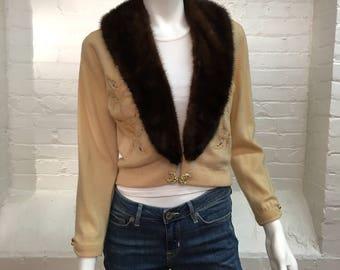 vintage cashmere mink collar evening cardigan // 1950s cashmere sweater // small