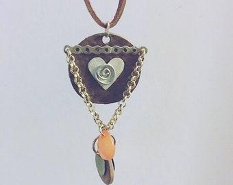 Boho necklace, bohemian necklace, long necklace, pendant, suede necklace, boho jewelry, copper penny, love heart necklace, boho chic