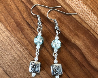 Silver and teal flower earrings