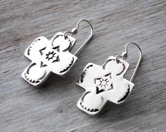 Silver Cross Earrings - Handcrafted Southwestern style Sterling Silver Cross Earrings