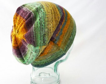 Colorful Slouchy Hat, Womens Hat, Boho Hat, Hipster Beanie, Hippie Winter Hat, Toque, Purple, Green, Gold, Gift for Her, Comfy Hat, Rainbow
