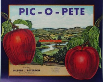 1920s Pic O Pete Apples Crate Label Gilbert Peterson Orchards Yakima WA