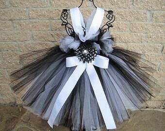 BLACK and WHITE, Tutu Dress,  Flower Girl Gown, Pageant Girl Dress, Birthday Tutu Dress, Black Tutu Dress, White Tutu Dress, Photo Shoots