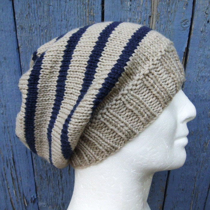 KNITTING PATTERN/CAMPUS Mans Striped Slouch Hat / Mans Striped ...
