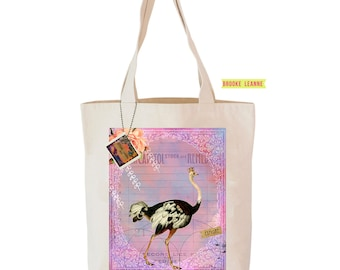 Ostrich  Tote Bag, Reusable Shopper Bag, Farmers Market Bag, Cotton Tote, Shopping Bag, Eco Tote Bag, Reusable Grocery Bag, Printed in USA