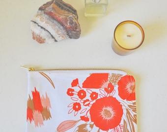 Ochre Floral Print Cotton Zip Pouch, Makeup Bag, Cosmetic Bag, Clutch Purse, Wallet