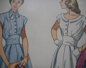 Vintage 1950's Simplicity 2506 Dress Sewing Pattern Size 12 Bust 30