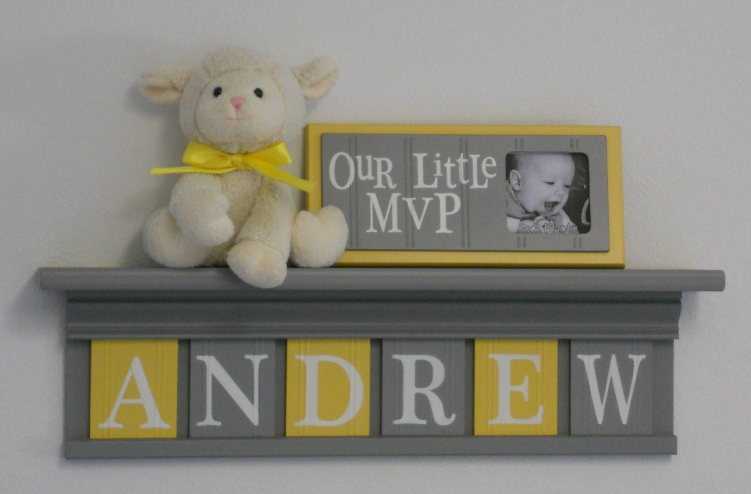 Name Wall Letters Baby Boy Room Decoration Name Nursery Decor Shelf Gray With