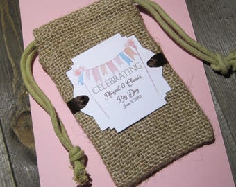 Burlap Wedding favor bags - Personalized - Boho - Rustic - Celebrating Big Day - Banner - Coffee Favor Bags - Set of 20