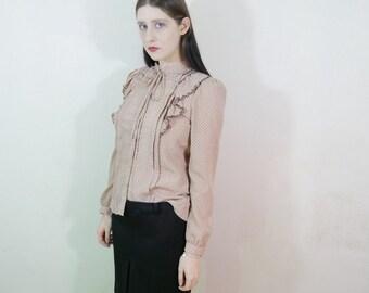 vtg 70s mauve pink prarie ruffle blouse size M-L