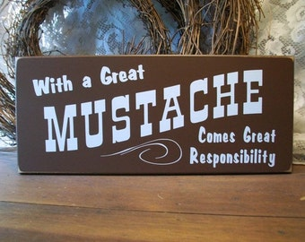 Wood Wall Sign With a Great Mustache Father's Day Plaque