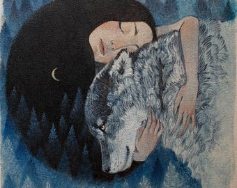 """Limited edition giclée print of original Lucy Campbell artwork """"Wolf Mother"""""""