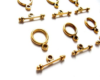 Antique Gold Toggle Clasps - 10 Sets - 16-GB-7
