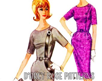 McCall's 6078 Vintage 1960s Dress with Unique Bodice Band Sewing Pattern