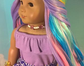 "Custom 10-11"" Doll Wig Fits Most 18"" Dolls ""Spring Basket"" Soft Spiral Rainbow Wig- Heat Safe*"