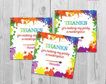Art Paint Party Favor Tags, Printable Thank You Tags for Art Party Favors