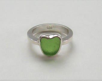 Green Glass Heart, Green Beach Glass, Color of Money, Emerald Green, Heart Ring Sz 9, Genuine Sea Glass, Heart Shaped Glass, Ocean Beach SF