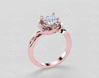 Luvia - Flower Engagement Ring - Choose your metal