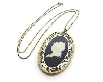 Vintage Silhouette Cameo Necklace on Sterling Chain - Celluloid Glass, Gold Tone Metal, Pendant Necklace, Vintage Cameo, Vintage Necklace