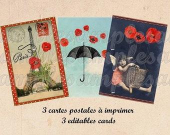 4 Cards Tag - Digital card tag, ACEO poppy, vintage postcard, scrapbooking, digital collage sheet