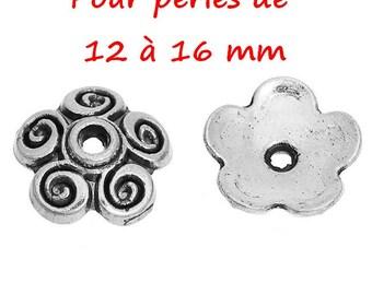 50 bead caps antique silver flower 12-16 mm
