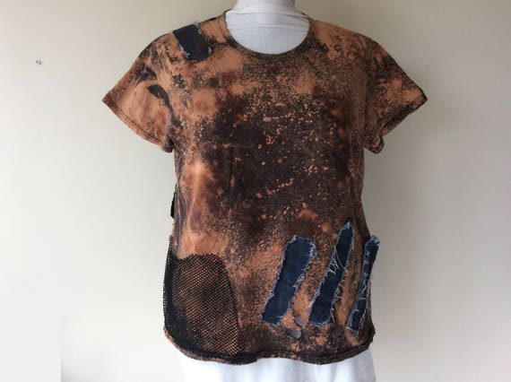 Men's Post Apocalyptic Bleached Patched & Distressed T-Shirt Wastelander Wasteland Apocalyptic Costume Cosplay Short Sleeve Mens XL HVrZDQxb