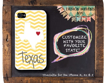 Personalized iPhone Case, State Love Texas Plastic iPhone Case, iPhone 4, iPhone 4s, iPhone 5, iPhone 5s, iPhone 5c, iPhone 6, Phone Case