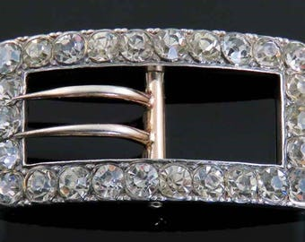 Antique c1900 Norwegian Sterling Silver & Paste Stone Buckle