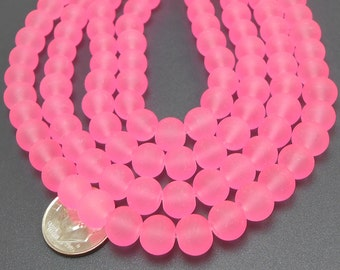 50 Pink Matte Sea Glass Beads 8mm frosted beach glass round (H5002)