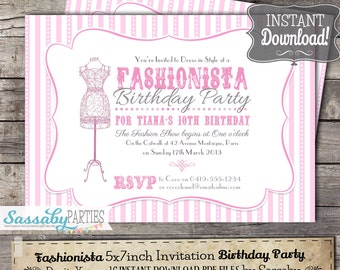 Fashionista Invitation - INSTANT DOWNLOAD - Editable & Printable Pink Girls Glam Fashion Birthday Party Invitation by Sassaby Parties