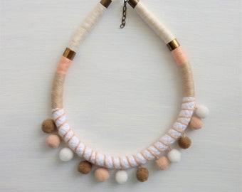 Pompom necklace, rope necklace, gift for her, pom pom jewelry, boho jewelry, statement necklace, boho hippie