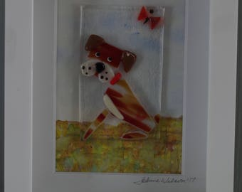 Dog and the butterfly fused glass and watercolor wall art. Mixed media shadow box. . Boxer dog, bridle boxer, bridle dog