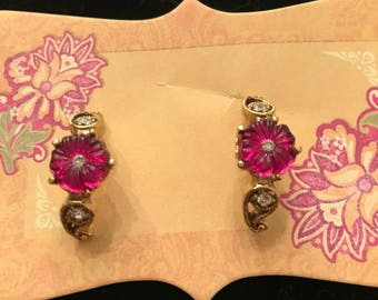 Gold Earrings with Magenta Colored Daisies and Rhinestone Accents