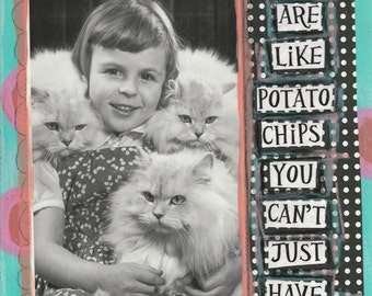 Cats & Potato Chips Greeting Card