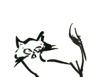 Original Black Cat Gouache Painting ACEO number 160