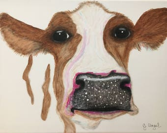 "Cow canvas painting print - ""Hester"""