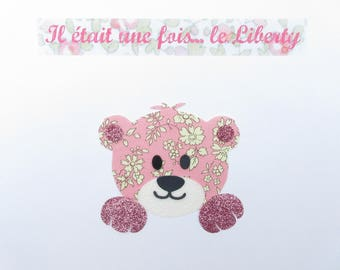 Applied fusible bear head liberty Capel rose fabric glitter patch iron on fusible pattern liberty bear teddy bear coat