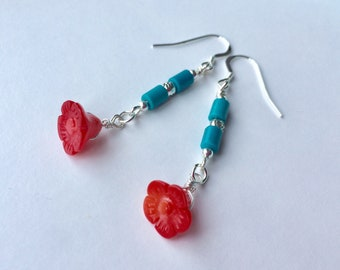 Coral Flower Dangle Earrings With Turquoise And Silver