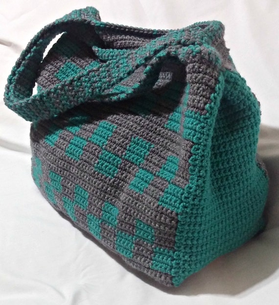 Crochet Tote Bag Teal And Grey Tote Large Tote Checkerboard